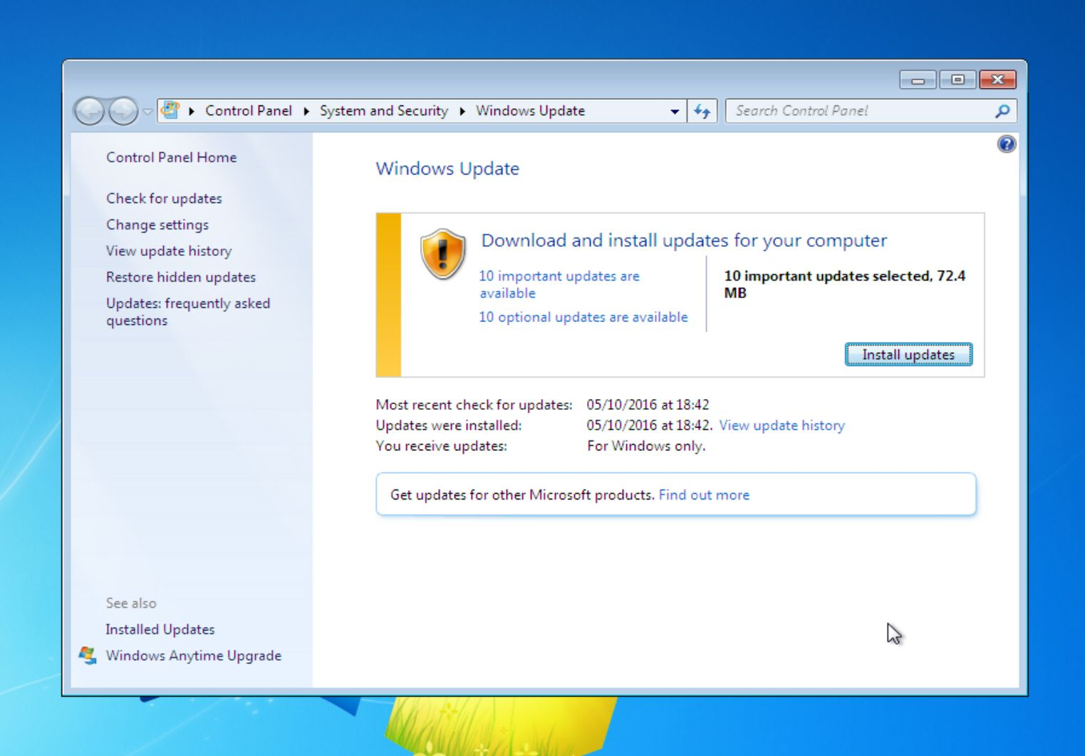 How to disable automatic updates in Windows 7